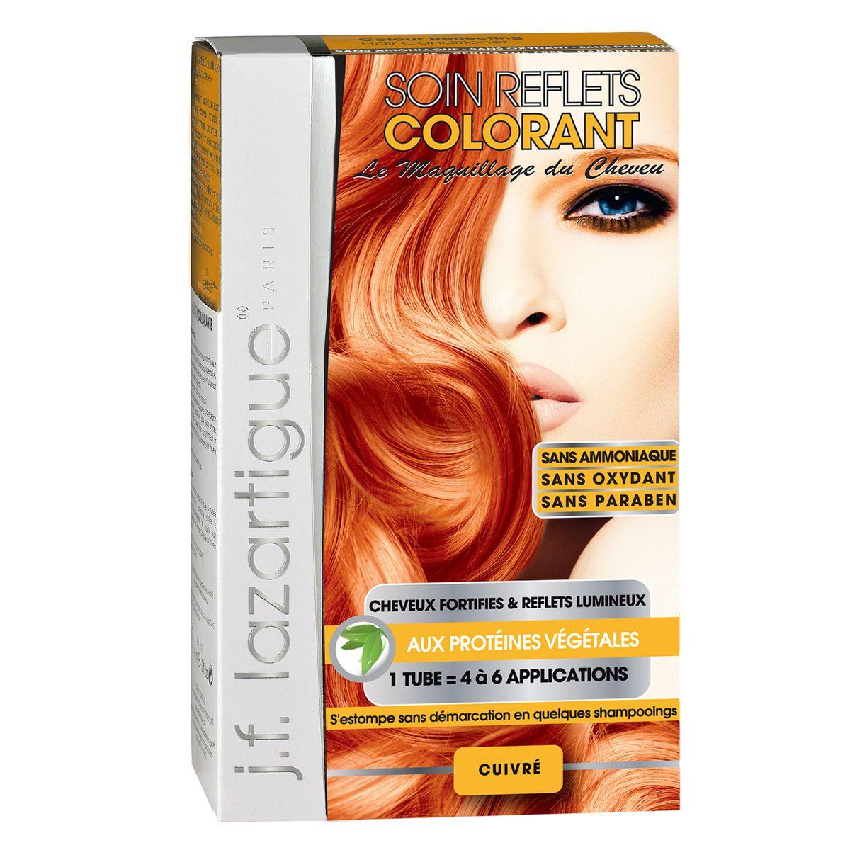 J.F.Lazartigue Оттеночный кондиционер для волос Медный 100 мл61625Оттеночный кондиционер J.F.LAZARTIGUE – это лечебный макияж для Ваших волос. Два эффекта: кондиционирование волос и легкий оттенок. Особенности: придает новый или более теплый (или холодный) оттенок, делает тон темнее или акцентирует цвет, оживляет естественный цвет или придает яркость тусклым и выцветшим на солнце волосам. Закрашивает небольшой процент седины! После мытья волос шампунем (3-6 раз) смывается. Для достижения индивидуального оттенка можно смешать два разных кондиционера: добавить к выбранному ТЕМНЫЙ РЫЖИЙ (Auburn), МЕДНЫЙ (Copper) и т.п. Не осветляет волосы. Не содержит аммиака и перекиси водорода. Не содержит парабенов. Не предназначен для окрашивания бровей и ресниц.