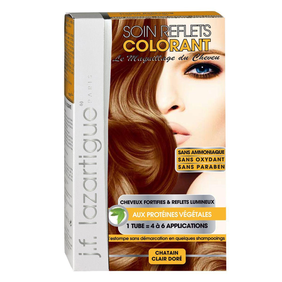 J.F.Lazartigue Оттеночный кондиционер для волос Золотистый светлый каштан 100 мл61627Оттеночный кондиционер J.F.LAZARTIGUE – это лечебный макияж для Ваших волос. Два эффекта: кондиционирование волос и легкий оттенок. Особенности: придает новый или более теплый (или холодный) оттенок, делает тон темнее или акцентирует цвет, оживляет естественный цвет или придает яркость тусклым и выцветшим на солнце волосам. Закрашивает небольшой процент седины! После мытья волос шампунем (3-6 раз) смывается. Для достижения индивидуального оттенка можно смешать два разных кондиционера: добавить к выбранному ТЕМНЫЙ РЫЖИЙ (Auburn), МЕДНЫЙ (Copper) и т.п. Не осветляет волосы. Не содержит аммиака и перекиси водорода. Не содержит парабенов. Не предназначен для окрашивания бровей и ресниц.