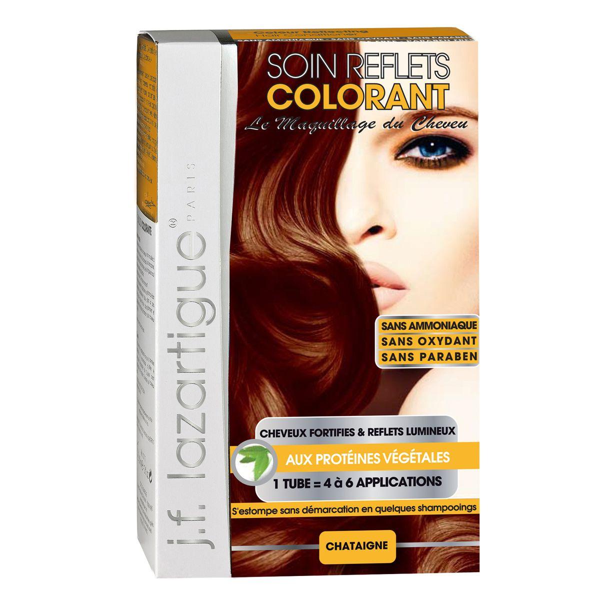 J.F.Lazartigue Оттеночный кондиционер для волос Каштан 100 мл61629Оттеночный кондиционер J.F.LAZARTIGUE – это лечебный макияж для Ваших волос. Два эффекта: кондиционирование волос и легкий оттенок. Особенности: придает новый или более теплый (или холодный) оттенок, делает тон темнее или акцентирует цвет, оживляет естественный цвет или придает яркость тусклым и выцветшим на солнце волосам. Закрашивает небольшой процент седины! После мытья волос шампунем (3-6 раз) смывается. Для достижения индивидуального оттенка можно смешать два разных кондиционера: добавить к выбранному ТЕМНЫЙ РЫЖИЙ (Auburn), МЕДНЫЙ (Copper) и т.п. Не осветляет волосы. Не содержит аммиака и перекиси водорода. Не содержит парабенов. Не предназначен для окрашивания бровей и ресниц.