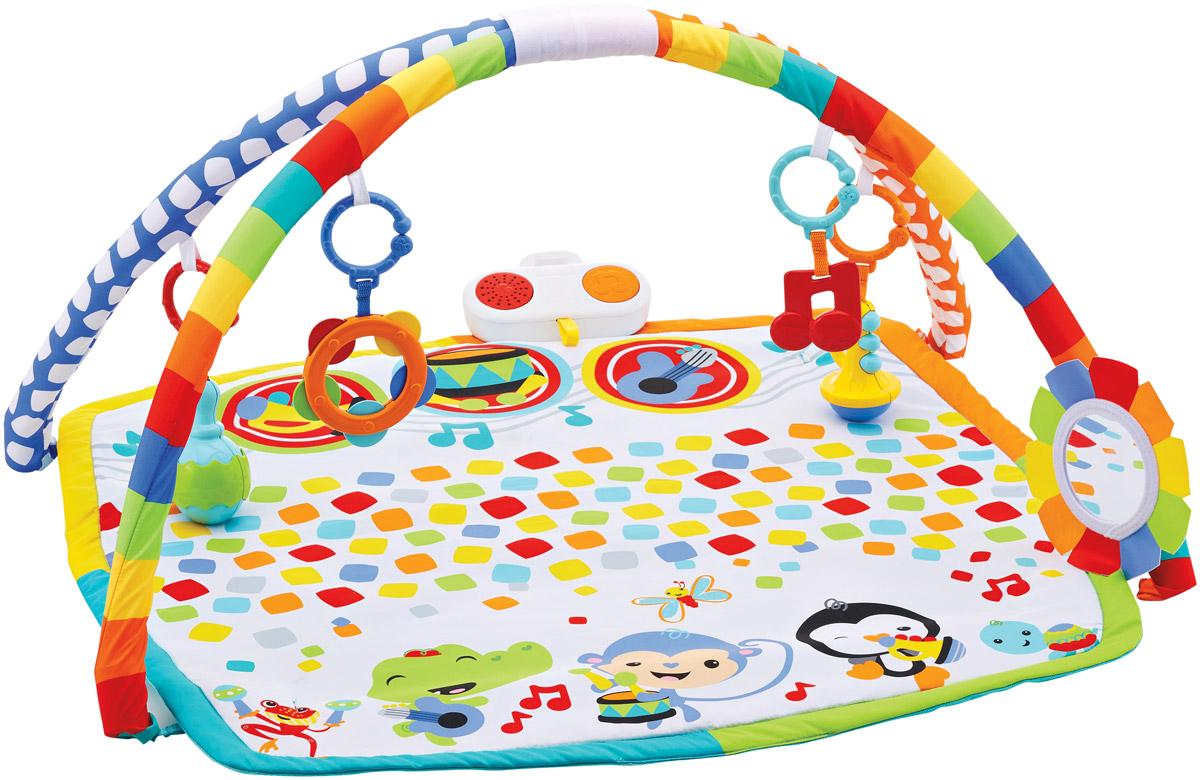 Fisher Price Развивающий коврик Музыкальная сценаDFP69Яркий развивающий коврик Fisher Price Музыкальная сцена растет вместе с малышом. Лежим, играем и слушаем: переведите музыкальную панель в режим продолжительной игры, чтобы малыш мог лежать и слушать до 30 минут музыки, играя с подвесными игрушками. Играем на животике: в режиме короткой игры 3 инструмента на игровом коврике реагируют на прикосновение малыша веселыми звуками. Играем сидя: по мере взросления малыша снимите дуги, чтобы малыш мог сидеть и наслаждаться веселыми музыкальными играми. Безопасное зеркальце можно размещать в разных местах. Веселые игрушки с соединительными звеньями: игрушка-прорезыватель в виде ноты, труба- погремушка, бубен, маракас-погремушка. Прикоснитесь к трубе, барабану или гитаре на коврике, чтобы услышать звуки этого инструмента. Развивающий коврик предназначен для развития сенсорики малыша, разные текстуры и формы элементов стимулируют тактильную активность ребенка. Звуковые эффекты помогают развивать слух. С помощью...