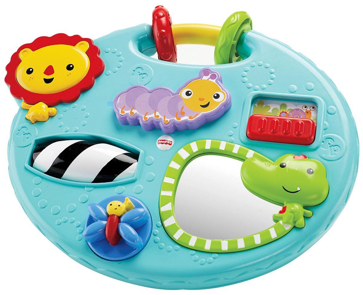 Fisher Price Развивающий центр Исследуем и играемCMY39Развивающий центр Fisher Price Исследуем и играем - это все, что потребуется для увлекательной игры малыша! Прелестные звуки, забавные игрушки в виде зверей и насекомых непременно развлекут ребенка. Игрушка имеет зеркальце, в котором малыш будет видеть собственное отражение. Развивающий центр поможет ребенку узнать причинно-следственные связи. Игровые мелкие детали разовьют мелкую моторику, а прелестные звуки и яркие цвета - органы чувств. Также эту игрушку можно брать с собой с помощью удобной ручки и развлекать ребенка в дороге.
