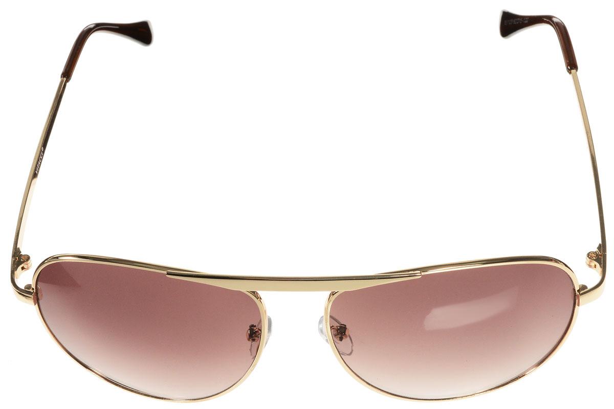 Очки солнцезащитные женские Vitacci, цвет: золотой, коричневый. H24H24Стильные солнцезащитные очки Vitacci выполнены из металла с элементами из высококачественного пластика. Линзы данных очков обладают высокоэффективным поляризационным покрытием со степенью защиты от ультрафиолетового излучения UV400. Используемый пластик не искажает изображение, не подвержен нагреванию и вредному воздействию солнечных лучей. Оправа очков легкая, прилегающей формы, дополнена носоупорами и поэтому обеспечивает максимальный комфорт. Такие очки защитят глаза от ультрафиолетовых лучей, подчеркнут вашу индивидуальность и сделают ваш образ завершенным.