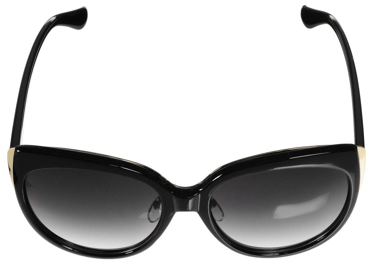 Очки солнцезащитные женские Vitacci, цвет: черный, золотой. O178O178Стильные солнцезащитные очки Vitacci выполнены из высококачественного пластика с элементами из металла. Используемый пластик не искажает изображение, не подвержен нагреванию и вредному воздействию солнечных лучей. Оправа очков легкая, прилегающей формы, дополнена носоупорами и поэтому обеспечивает максимальный комфорт. Такие очки защитят глаза от ультрафиолетовых лучей, подчеркнут вашу индивидуальность и сделают ваш образ завершенным.