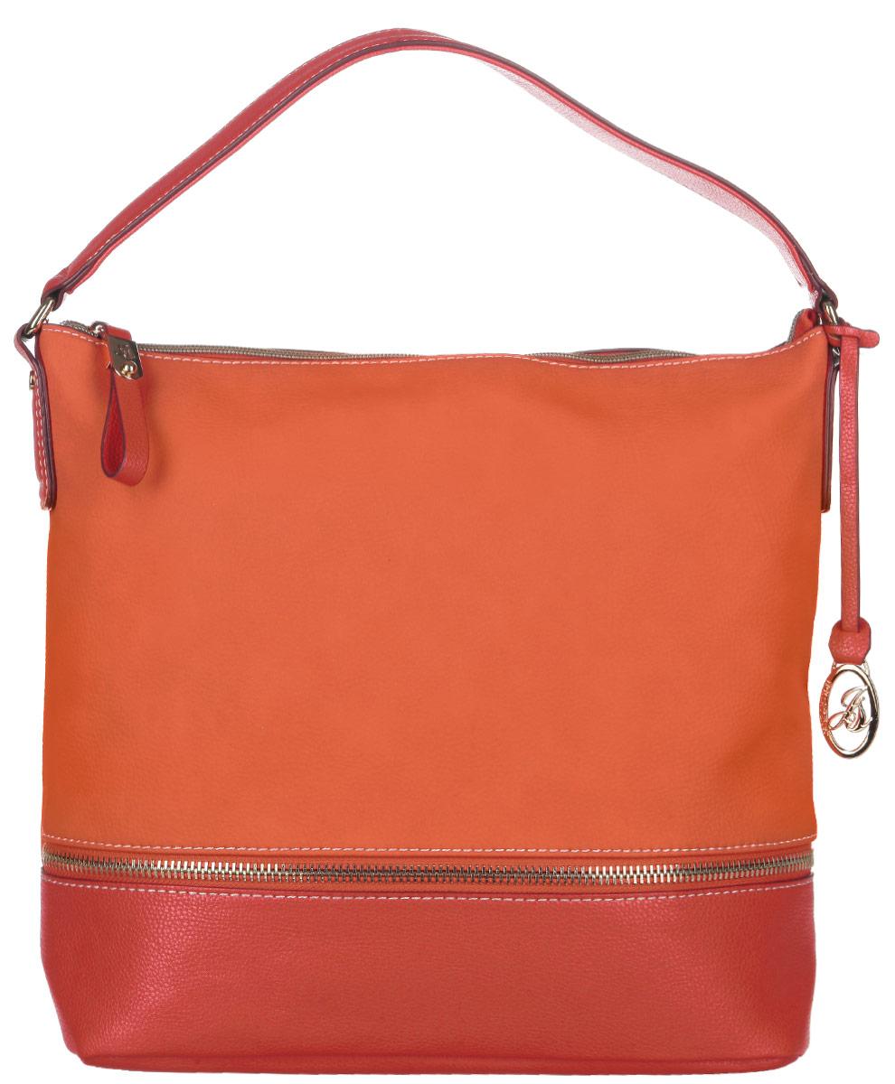 Сумка женская Jane Shilton, цвет: морковный, красный. 20762076coralСтильная женская сумка Jane Shilton выполнена из искусственной кожи и дополнена фирменным брелоком. Лицевая сторона оформлена декоративной молнией. Изделие имеет одно основное отделение, разделенное пополам карманом-средником на застежке-молнии. Закрывается сумка на застежку-молнию. Внутри находятся прорезной карман на застежке-молнии и накладной открытый карман. Снаружи, на задней стенке расположен прорезной карман на застежке-молнии. Модель оснащена одной ручкой. Роскошная сумка внесет элегантные нотки в ваш образ и подчеркнет ваше отменное чувство стиля.