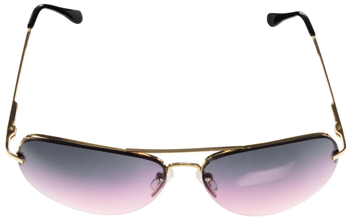 Очки солнцезащитные женские Vitacci, цвет: золотой, черный. H34H34Стильные солнцезащитные очки Vitacci выполнены из металла с элементами из высококачественного пластика. Линзы данных очков обладают высокоэффективным поляризационным покрытием со степенью защиты от ультрафиолетового излучения UV400. Используемый пластик не искажает изображение, не подвержен нагреванию и вредному воздействию солнечных лучей. Оправа очков легкая, прилегающей формы, дополнена носоупорами и поэтому обеспечивает максимальный комфорт. Такие очки защитят глаза от ультрафиолетовых лучей, подчеркнут вашу индивидуальность и сделают ваш образ завершенным.