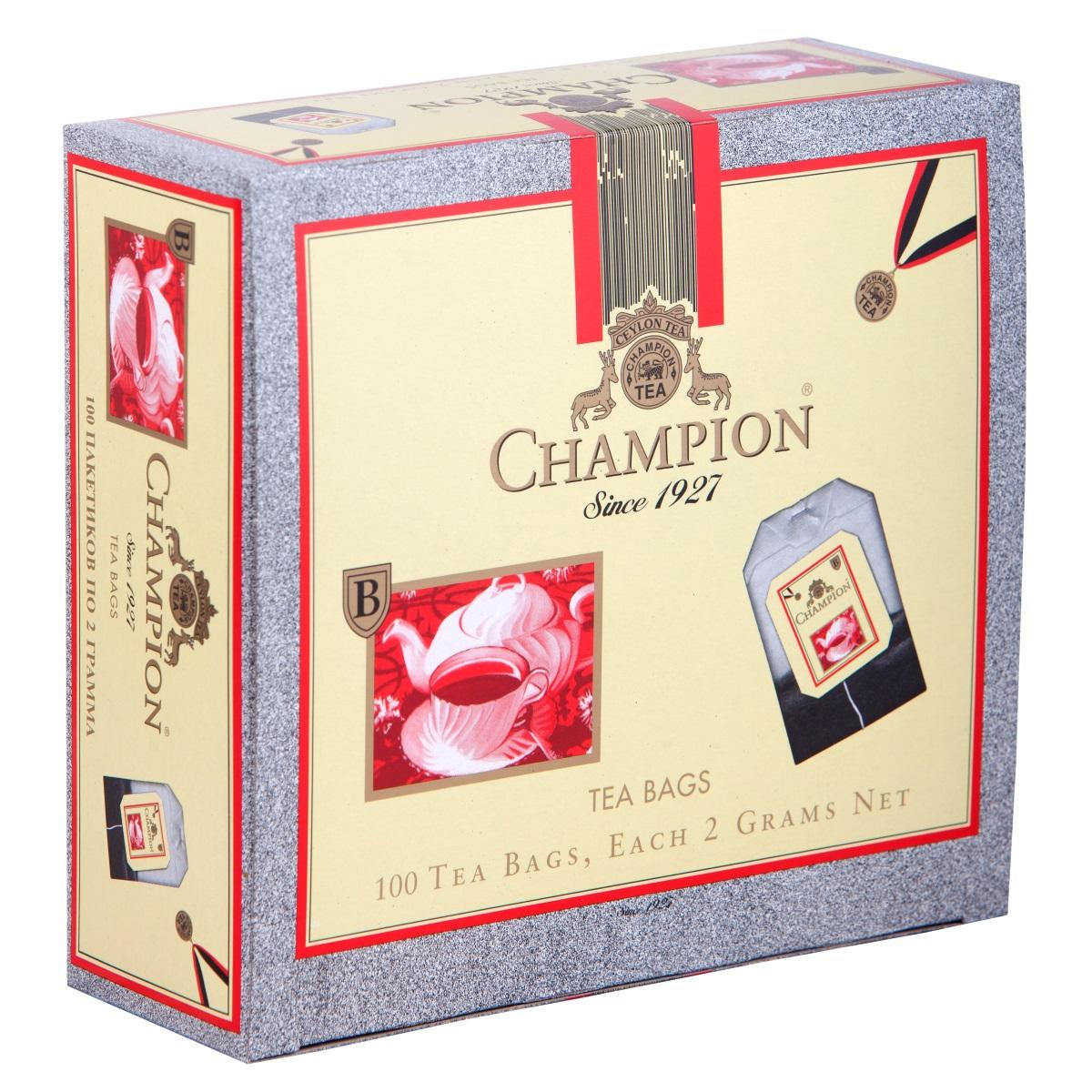 Champion черный листовой чай в пакетиках, 100 шт4607014862387Чай Чемпион с богатым вкусом, дает возможность любителям оценить настоящий вкус напитка. В его состав входит смесь лучших сортов из Индии, Цейлона и Кении.
