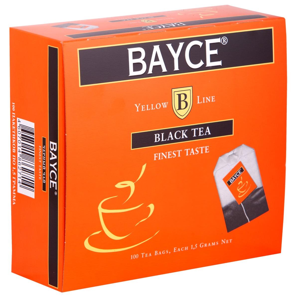 Bayce Файнест черный чай в пакетиках, 100 шт4607014862714Bayce Файнест - превосходный мелколистовой чай, собранный на лучших чайных плантациях Индии, Кении и острова Цейлон. Приятный вкус и полезные свойства делают этот сорт чая особенно привлекательным.