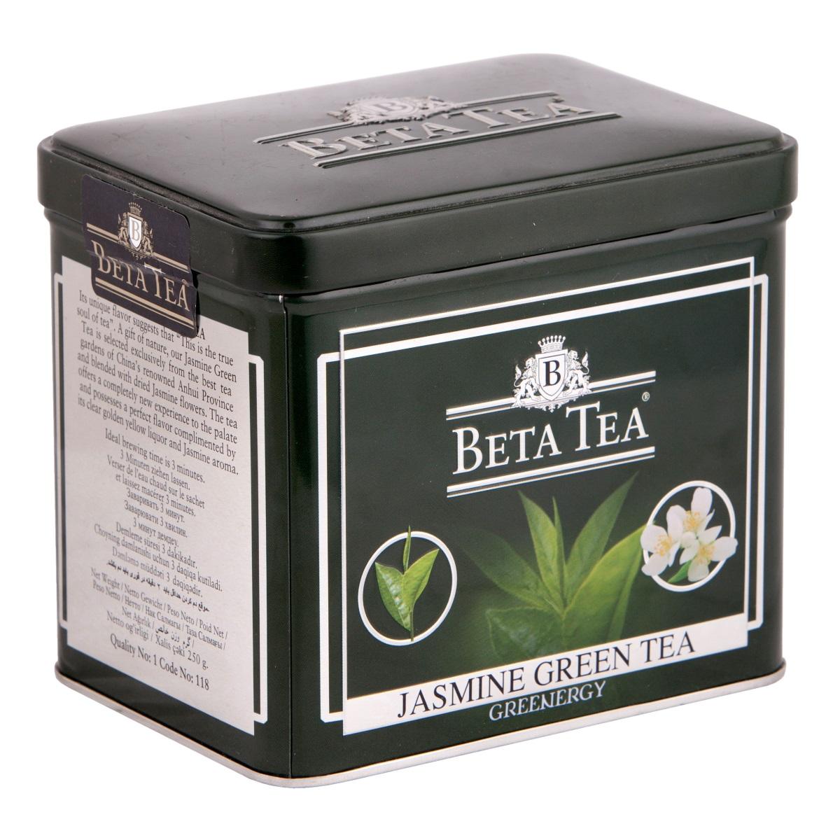 Beta Tea Зеленый с жасмином листовой чай, 250 г8690717005089Beta Tea предлагает вам насладиться целебными качествами зеленого чая с лепестками тропического жасмина, цветки которого собирают на горных склонах до восхода солнца, чтобы сохранить их нежный аромат. Настой обладает тонким цветочным ароматом и мягким вкусом.