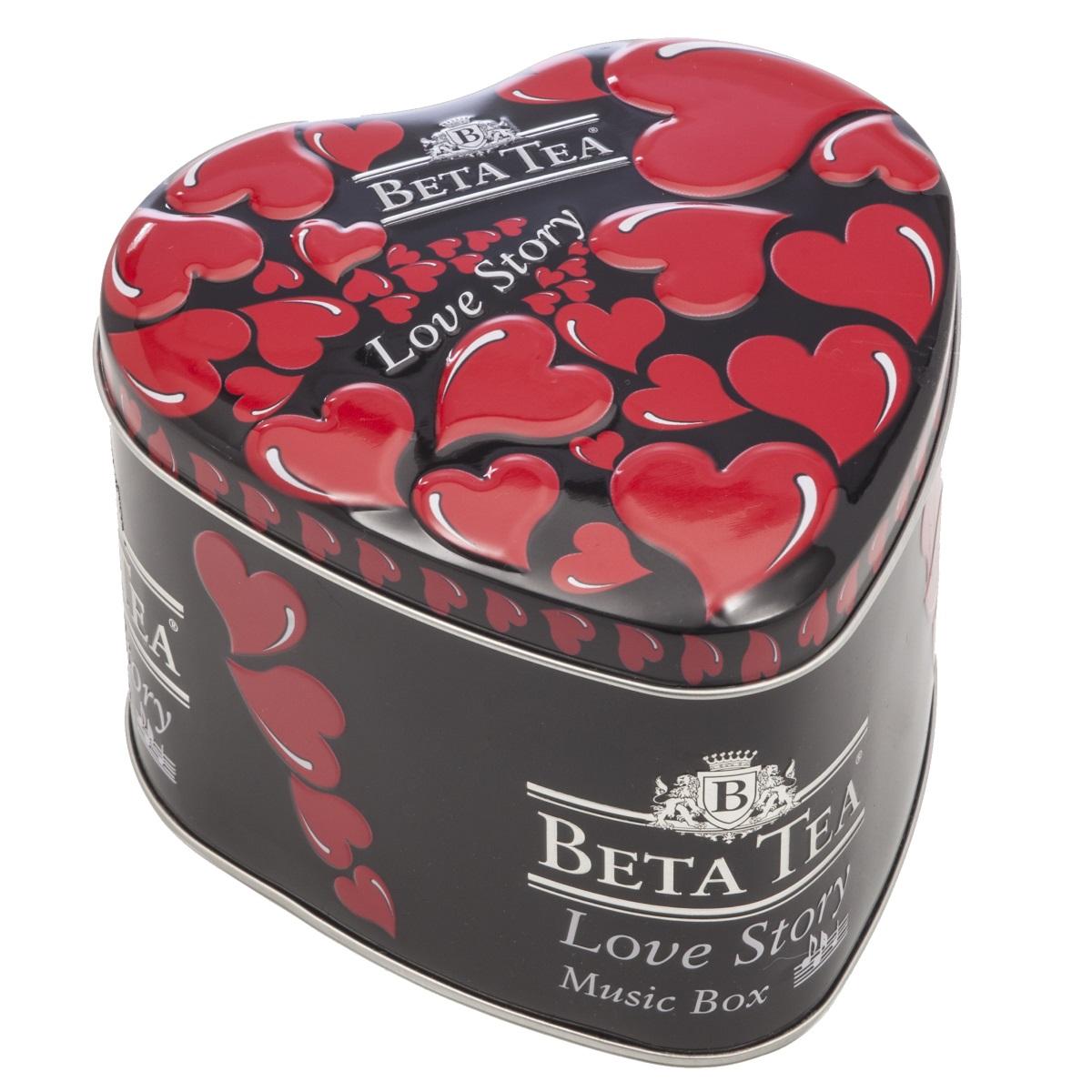 Beta Tea Любовная история черный чай, 100 г (музыкальная шкатулка)8690717006178Черный цейлонский байховый среднелистовой чай Beta Любовная история. Оригинальная упаковка чая в виде сердца с музыкальным механизмом станет идеальным подарком по любому поводу. Подарок от всего сердца - любовная история, сокрытая в музыкальной шкатулке с романтичной мелодией и огненно-красными символами страсти!