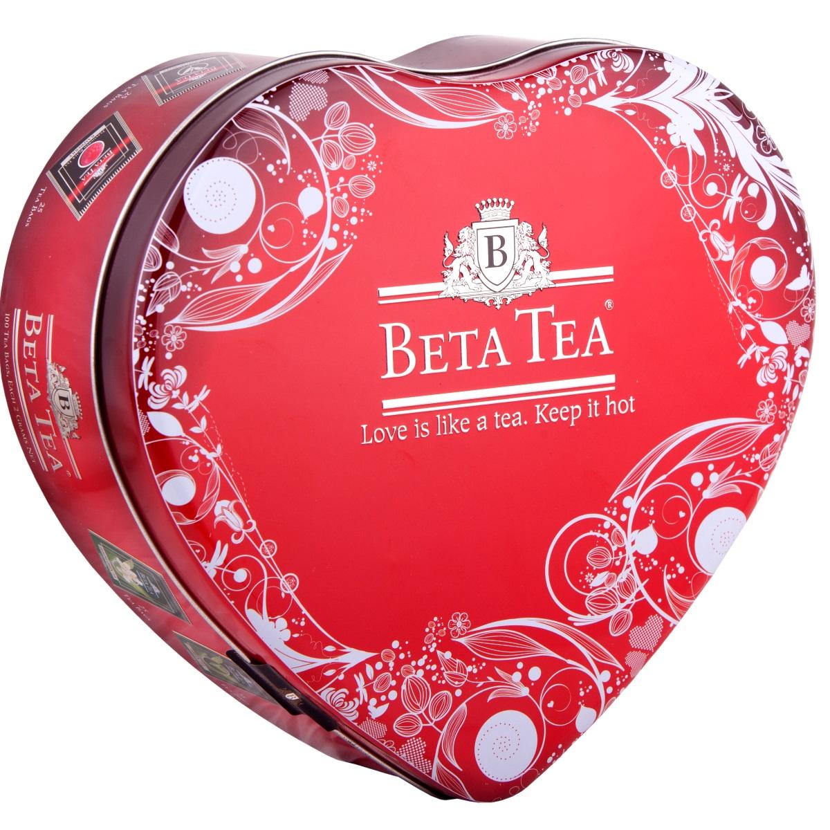 Beta Tea Сердце чайный набор, 100 шт (подарочная упаковка)8690717999401Beta Tea Сердце - отличный подарок для любимых с лучших чайных плантаций Шри-Ланки. Набор включает в себя: Чай Отборное качество (25 шт., 50 г). Его поставляют лучшие чайные плантации Шри-Ланки. Любители крепкого чая с терпким вкусом по достоинству оценят этот напиток. Чай Beta Tea Малина (25 шт., 50 г). Он содержит в себе неповторимый аромат малины, что придает напитку изысканный вкус. Этот чай, собранный с самых лучших плантаций Цейлона, производится в экологически чистых условиях при помощи современных технологий. Зеленый чай Beta Tea (25 шт., 50 г). Он занимает особое место в ассортименте компании. Основная задача при производстве этого сорта состоит в том, чтобы сохранить лечебные природные биологически активные вещества свежих листьев таким образом, чтобы они смогли высвободиться во время заваривания. Зеленый чай с жасмином Beta Tea (25 шт., 50 г) предлагает вам насладиться целебными качествами зеленого чая с лепестками тропического...