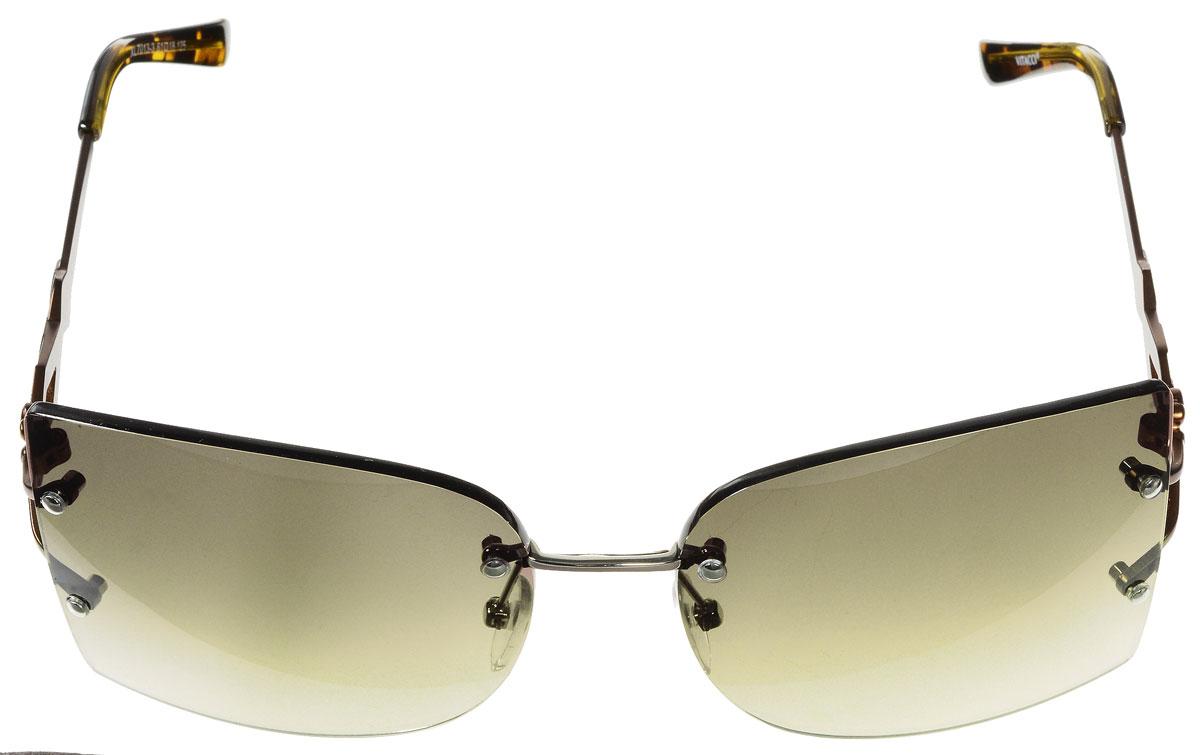 Очки солнцезащитные женские Vitacci, цвет: коричневый. H71H71Стильные солнцезащитные очки Vitacci выполнены из металла с элементами из высококачественного пластика. Линзы данных очков обладают высокоэффективным поляризационным покрытием со степенью защиты от ультрафиолетового излучения UV400. Используемый пластик не искажает изображение, не подвержен нагреванию и вредному воздействию солнечных лучей. Оправа очков легкая, прилегающей формы, дополнена носоупорами и поэтому обеспечивает максимальный комфорт. Дужки оформлены декоративными элементами. Такие очки защитят глаза от ультрафиолетовых лучей, подчеркнут вашу индивидуальность и сделают ваш образ завершенным.