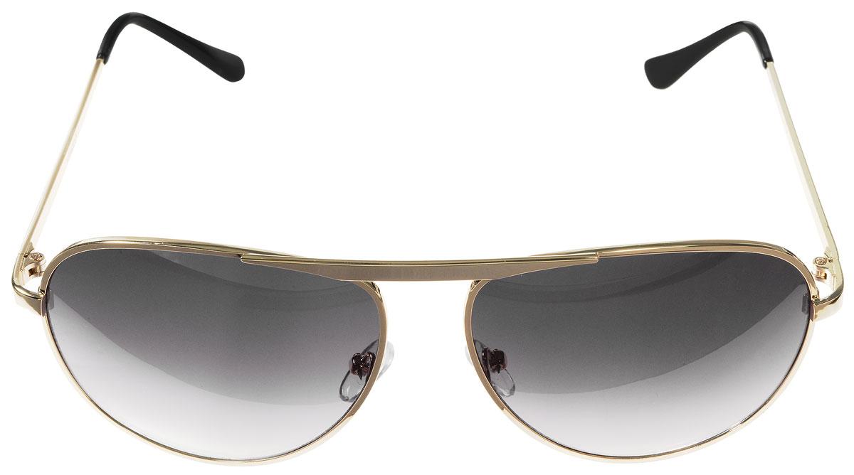 Очки солнцезащитные женские Vitacci, цвет: золотой, черный. H25H25Стильные солнцезащитные очки Vitacci выполнены из металла с элементами из высококачественного пластика. Линзы данных очков имеют степень затемнения С6, а также обладают высокоэффективным поляризационным покрытием со степенью защиты от ультрафиолетового излучения UV400. Используемый пластик не искажает изображение, не подвержен нагреванию и вредному воздействию солнечных лучей. Оправа очков легкая, прилегающей формы, дополнена носоупорами и поэтому обеспечивает максимальный комфорт. Такие очки защитят глаза от ультрафиолетовых лучей, подчеркнут вашу индивидуальность и сделают ваш образ завершенным.