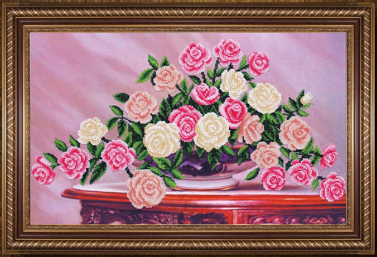 Набор для вышивания бисером Магия канвы Садовые розы, 50 х 30 см486973Наборы для вышивания бисером Магия канвы - это качественные материалы и красивые сюжеты, которые помогут вам создать маленькое чудо. В состав набора для вышивания бисером Садовые розы входит: уплотненная ткань с нанесенным рисунком, бисер Preciosa (Чехия) - 16 цветов, игла, инструкция.