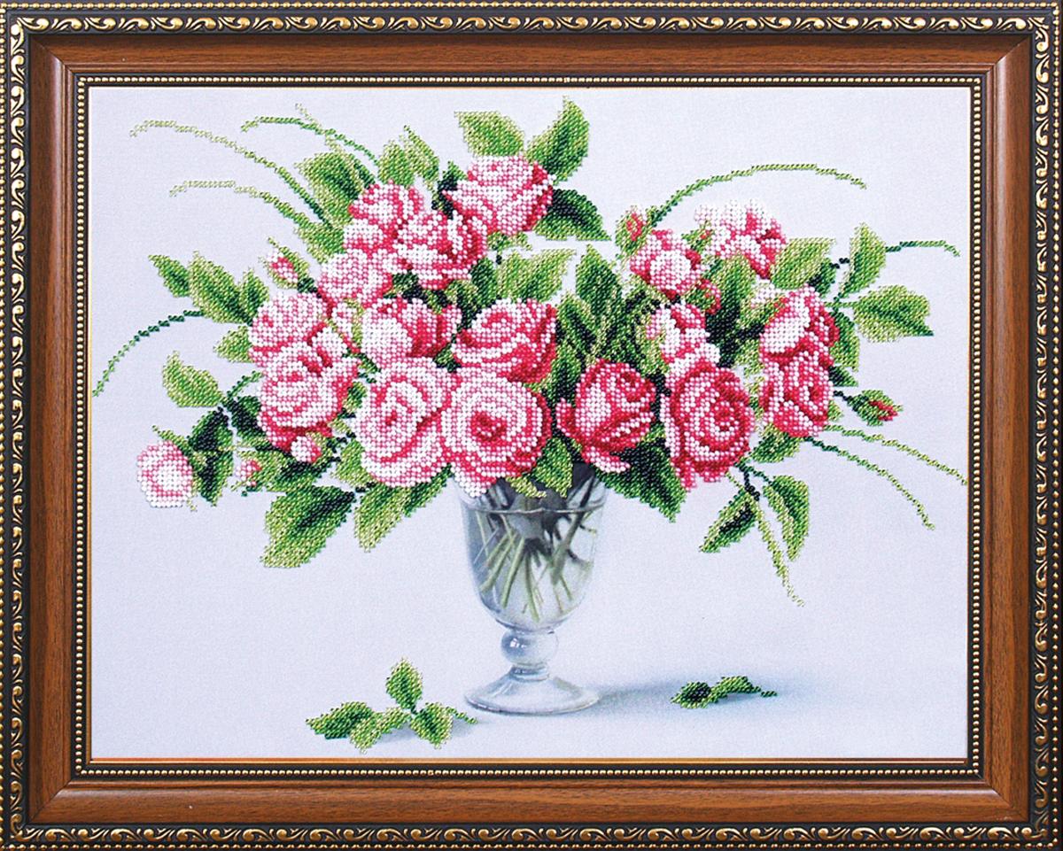 Набор для вышивания бисером Магия канвы Чайные розы, 35 х 27 см486974Наборы для вышивания бисером Магия канвы - это качественные материалы и красивые сюжеты, которые помогут вам создать маленькое чудо. В состав набора для вышивания бисером Чайные розы входит: уплотненная ткань с нанесенным рисунком, бисер Preciosa (Чехия) - 10 цветов, игла, инструкция.