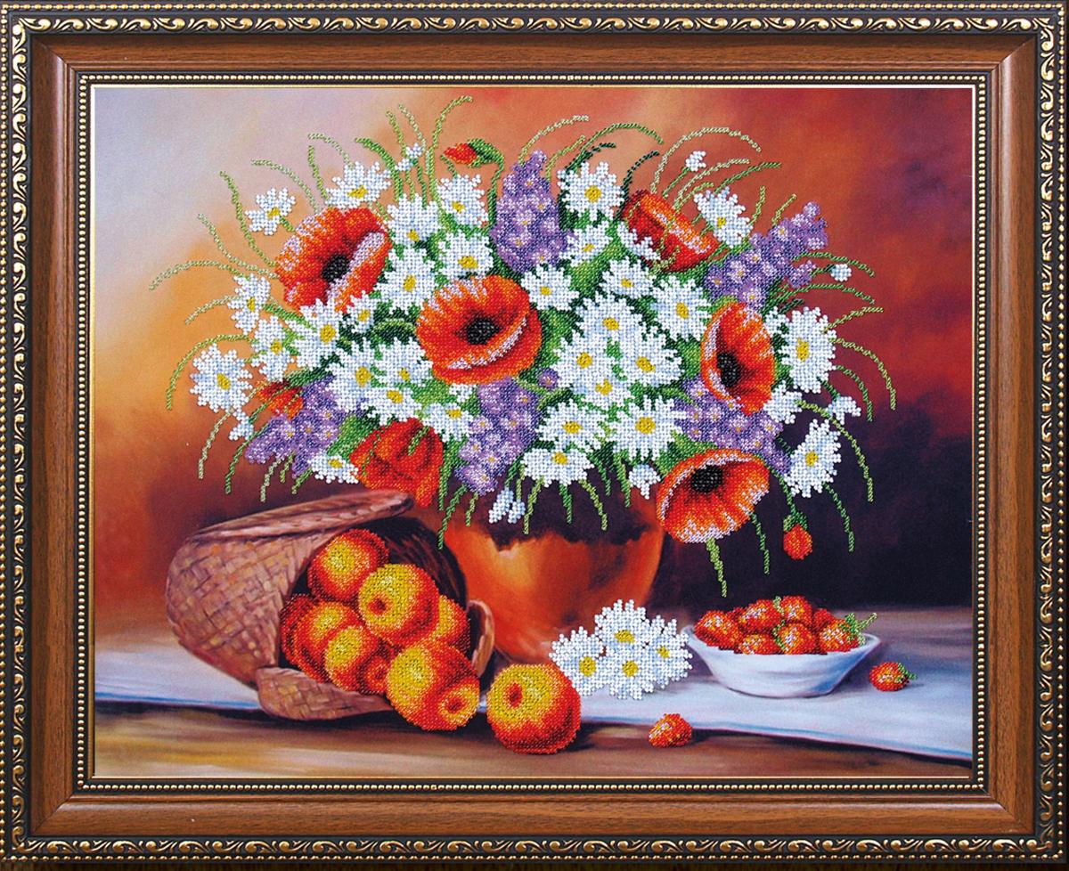 Набор для вышивания бисером Магия канвы Фруктово-цветочный пунш, 45 х 35 см488059Наборы для вышивания бисером Магия канвы - это качественные материалы и красивые сюжеты, которые помогут вам создать маленькое чудо. В состав набора для вышивания бисером Фруктово-цветочный пунш входит: уплотненная ткань с нанесенным рисунком, бисер Preciosa (Чехия) - 22 цвета, игла, инструкция.
