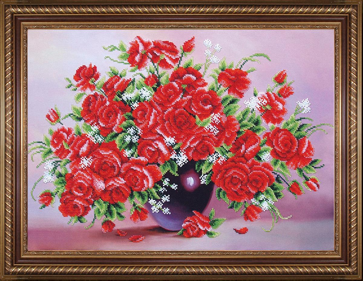 Набор для вышивания бисером Магия канвы Миллион алых роз, 47 х 33 см488356Наборы для вышивания бисером Магия канвы - это качественные материалы и красивые сюжеты, которые помогут вам создать маленькое чудо. В состав набора для вышивания бисером Миллион алых роз входит: уплотненная ткань с нанесенным рисунком, бисер Preciosa (Чехия) - 13 цветов, игла, инструкция.