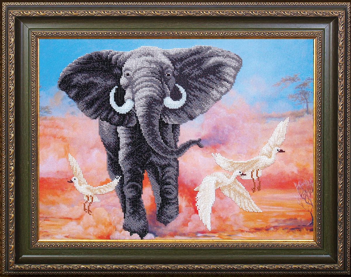 Набор для вышивания бисером Магия канвы Африканский слон, 42 х 31 см488359Наборы для вышивания бисером Магия канвы - это качественные материалы и красивые сюжеты, которые помогут вам создать маленькое чудо. В состав набора для вышивания бисером Африканский слон входит: уплотненная ткань с нанесенным рисунком, бисер Preciosa (Чехия) - 16 цветов, игла, инструкция.