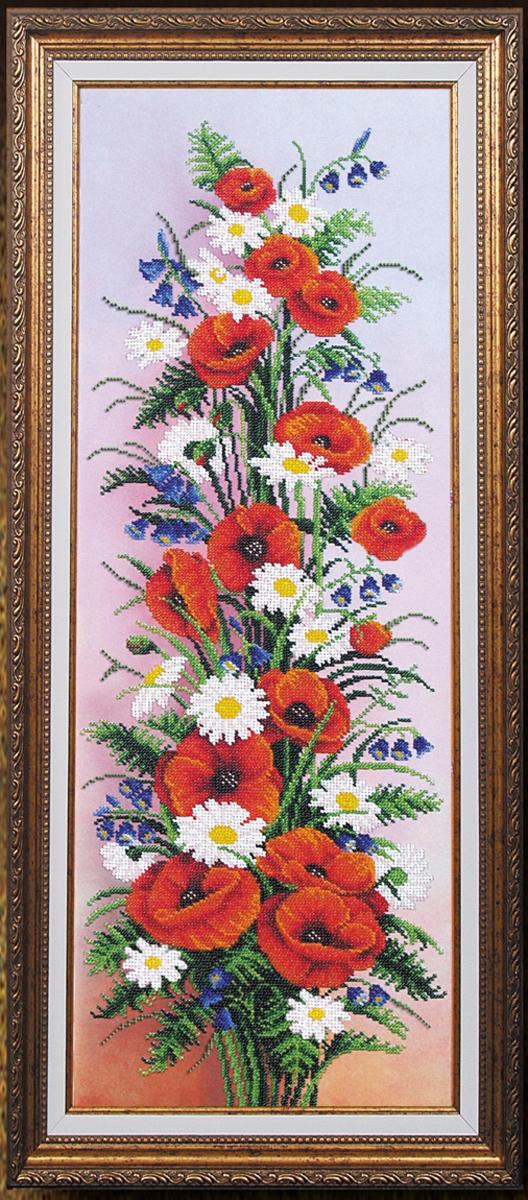 Набор для вышивания бисером Магия канвы Вдохновение. Маки, 61 х 25 см547768Наборы для вышивания бисером Магия канвы - это качественные материалы и красивые сюжеты, которые помогут вам создать маленькое чудо. В состав набора для вышивания бисером Вдохновение Маки входит: уплотненная ткань с нанесенным рисунком, бисер Preciosa (Чехия) - 22 цвета, игла, инструкция.