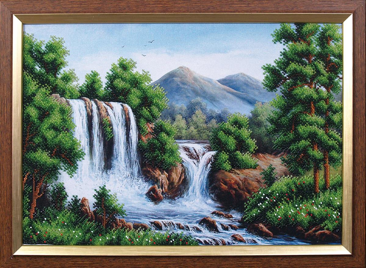 Набор для вышивания бисером Магия канвы Водопад в горах, 40 х 27,5 см693300Наборы для вышивания бисером Магия канвы - это качественные материалы и красивые сюжеты, которые помогут вам создать маленькое чудо. В состав набора для вышивания бисером Водопад в горах входит: уплотненная ткань с нанесенным рисунком, бисер Preciosa (Чехия) - 10 цветов, игла, инструкция.