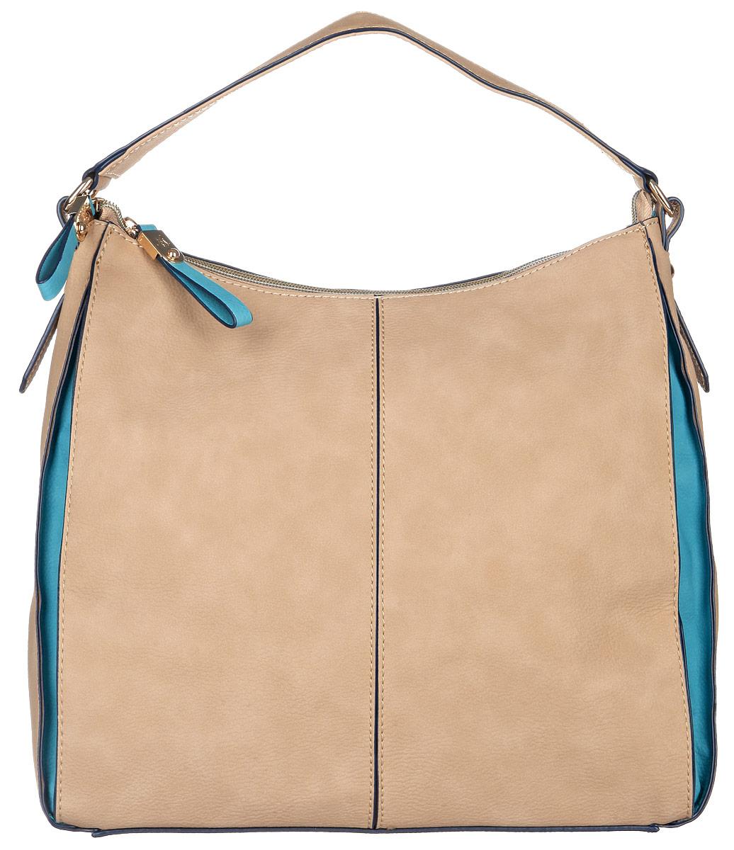 Сумка женская Jane Shilton, цвет: бежевый, бирюзовый. 20542054camelСтильная женская сумка Jane Shilton, выполненная из искусственной кожи, дополнена фирменным брелоком. Изделие имеет одно основное отделение, закрывающееся на застежку-молнию. Внутри находятся прорезной карман на застежке-молнии и накладной открытый карман. Снаружи, на задней стенке расположен прорезной карман на застежке-молнии. Модель оснащена одной удобной ручкой. Роскошная сумка внесет элегантные нотки в ваш образ и подчеркнет ваше отменное чувство стиля.