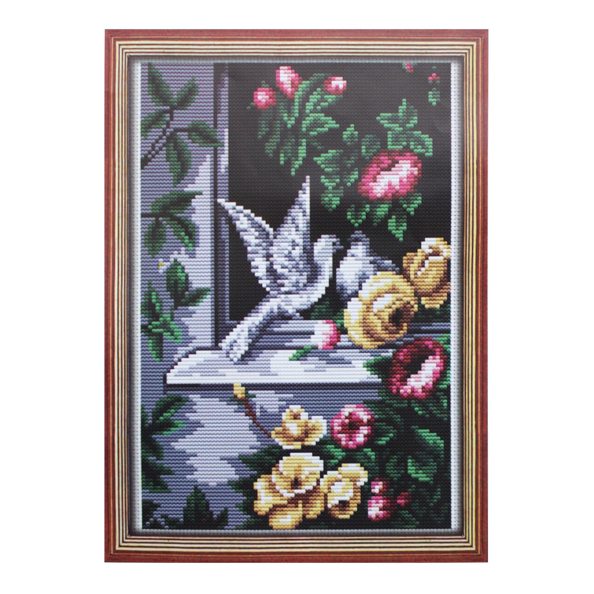 Набор для вышивания Lutars Голуби в окне, 16 х 25 см484955Красочные наборы от бренда Lutars станут приятным дополнением к любому интерьеру. В состав набора для вышивания Lutars Голуби в окне входит: канва Aida белая или цветная, мулине - 16 цветов, цветная схема, инструкция.