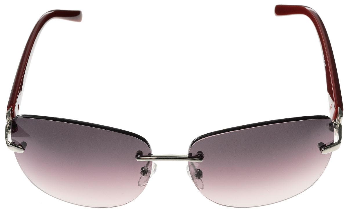 Очки солнцезащитные женские Vitacci, цвет: бордовый. O138O138Стильные солнцезащитные очки Vitacci выполнены из металла и высококачественного пластика. Линзы данных очков обладают высокоэффективным поляризационным покрытием со степенью защиты от ультрафиолетового излучения UV400. Используемый пластик не искажает изображение, не подвержен нагреванию и вредному воздействию солнечных лучей. Оправа очков легкая, прилегающей формы, дополнена носоупорами и поэтому обеспечивает максимальный комфорт. Такие очки защитят глаза от ультрафиолетовых лучей, подчеркнут вашу индивидуальность и сделают ваш образ завершенным.