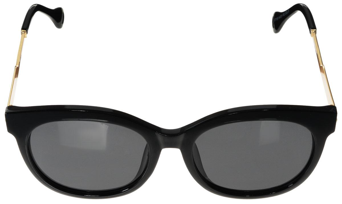 Очки солнцезащитные женские Vitacci, цвет: черный, золотой. O187O187Стильные солнцезащитные очки Vitacci выполнены из высококачественного пластика с элементами из металла. Линзы данных очков обладают высокоэффективным поляризационным покрытием со степенью защиты от ультрафиолетового излучения UV400. Используемый пластик не искажает изображение, не подвержен нагреванию и вредному воздействию солнечных лучей. Оправа очков легкая, прилегающей формы и поэтому обеспечивает максимальный комфорт. Дужки очков дополнены декоративными элементами из металла. Такие очки защитят глаза от ультрафиолетовых лучей, подчеркнут вашу индивидуальность и сделают ваш образ завершенным.