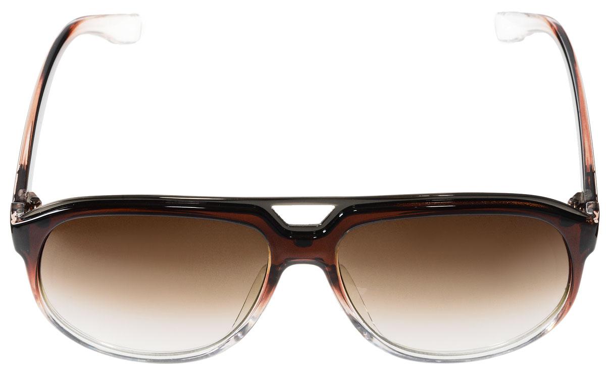 Очки солнцезащитные женские Vitacci, цвет: коричневый, прозрачный. G152G152Стильные солнцезащитные очки Vitacci выполнены из высококачественного пластика. Линзы данных очков имеют степень затемнения С4, а также обладают высокоэффективным поляризационным покрытием со степенью защиты от ультрафиолетового излучения UV400. Используемый пластик не искажает изображение, не подвержен нагреванию и вредному воздействию солнечных лучей. Пластиковая оправа очков легкая, прилегающей формы и поэтому обеспечивает максимальный комфорт. Такие очки защитят глаза от ультрафиолетовых лучей, подчеркнут вашу индивидуальность и сделают ваш образ завершенным.