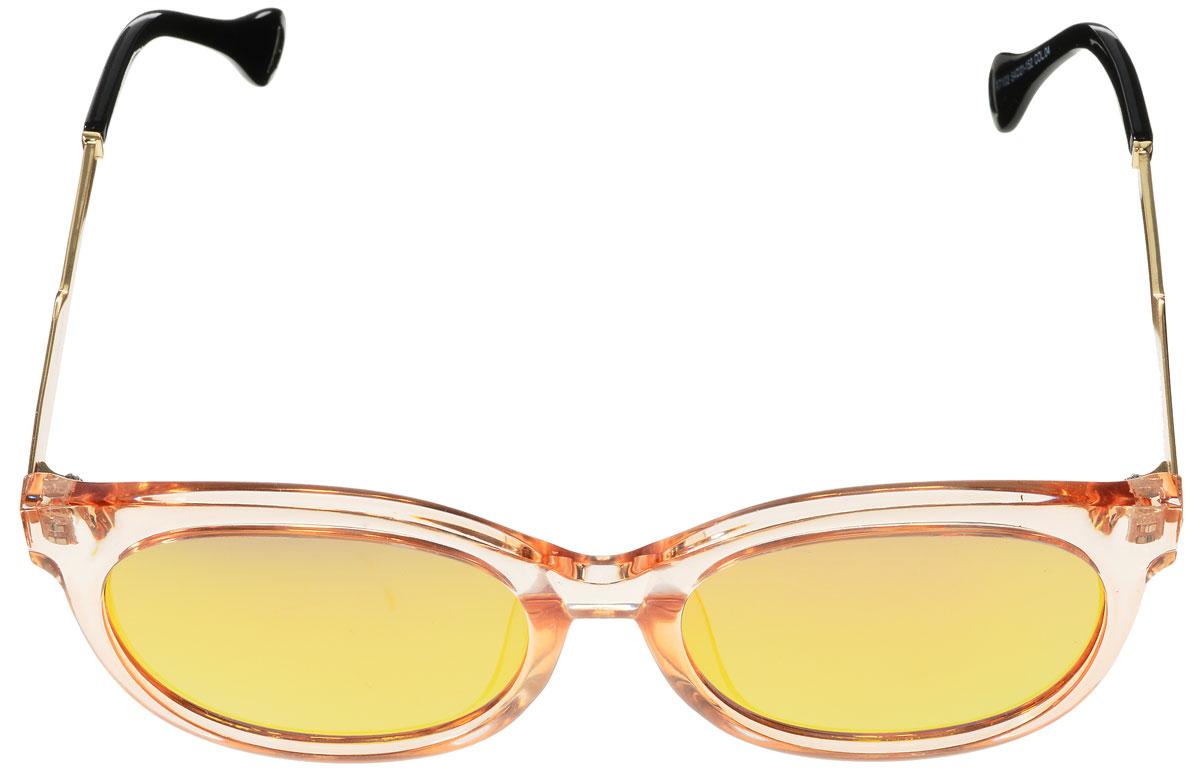 Очки солнцезащитные женские Vitacci, цвет: черный, золотой, оранжевый. O189O189Стильные солнцезащитные очки Vitacci выполнены из высококачественного пластика с элементами из металла. Линзы данных очков обладают высокоэффективным поляризационным покрытием со степенью защиты от ультрафиолетового излучения UV400. Используемый пластик не искажает изображение, не подвержен нагреванию и вредному воздействию солнечных лучей. Оправа очков легкая, прилегающей формы и поэтому обеспечивает максимальный комфорт. Такие очки защитят глаза от ультрафиолетовых лучей, подчеркнут вашу индивидуальность и сделают ваш образ завершенным.