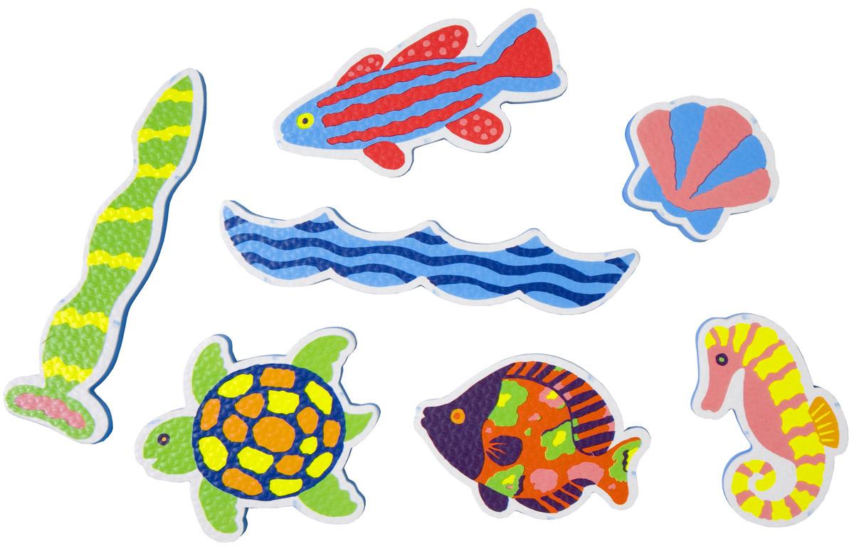 Alex Игрушка для ванной Фигурки-стикеры Пляж633WНабор фигурок- стикеров для ванной Пляж. В наборе фигурки в виде морских обитателей. Фигурки сделаны из легкого и экологичного материала - вспененного пластика, который крепится к влажной стенке ванны и кафелю. Упакованы в сумку-сетку на присосках.