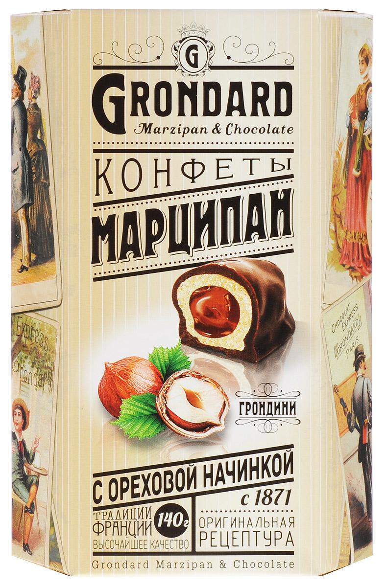 Grondard Marzipan конфеты марципановые с орехом в шоколадной глазури, 140 г14045Шоколадные конфеты Grondard Marzipan станут отличным подарком для близких: эти нежные конфеты в классическом исполнении с изысканными начинками подарят истинное наслаждение великолепным вкусом. Такие конфеты будут уместны для вечера с приятным вам человеком, для того, чтобы пойти с ними в гости, подарить на празднике или просто побаловать себя за вечерним чаепитием. Их изысканный и оригинальный марципановый вкус поможет перенестись в атмосферу мечтаний и грез. Очаруйтесь их вкусом, оцените все грани этого изящного лакомства от компании Grondard.