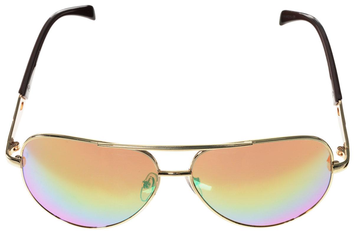 Очки солнцезащитные женские Vitacci, цвет: коричневый, золотой. H16H16Стильные солнцезащитные очки Vitacci выполнены из металла с элементами из высококачественного пластика. Линзы данных очков обладают высокоэффективным поляризационным покрытием со степенью защиты от ультрафиолетового излучения UV400. Используемый пластик не искажает изображение, не подвержен нагреванию и вредному воздействию солнечных лучей. Оправа очков легкая, прилегающей формы, дополнена носоупорами и поэтому обеспечивает максимальный комфорт. Такие очки защитят глаза от ультрафиолетовых лучей, подчеркнут вашу индивидуальность и сделают ваш образ завершенным.