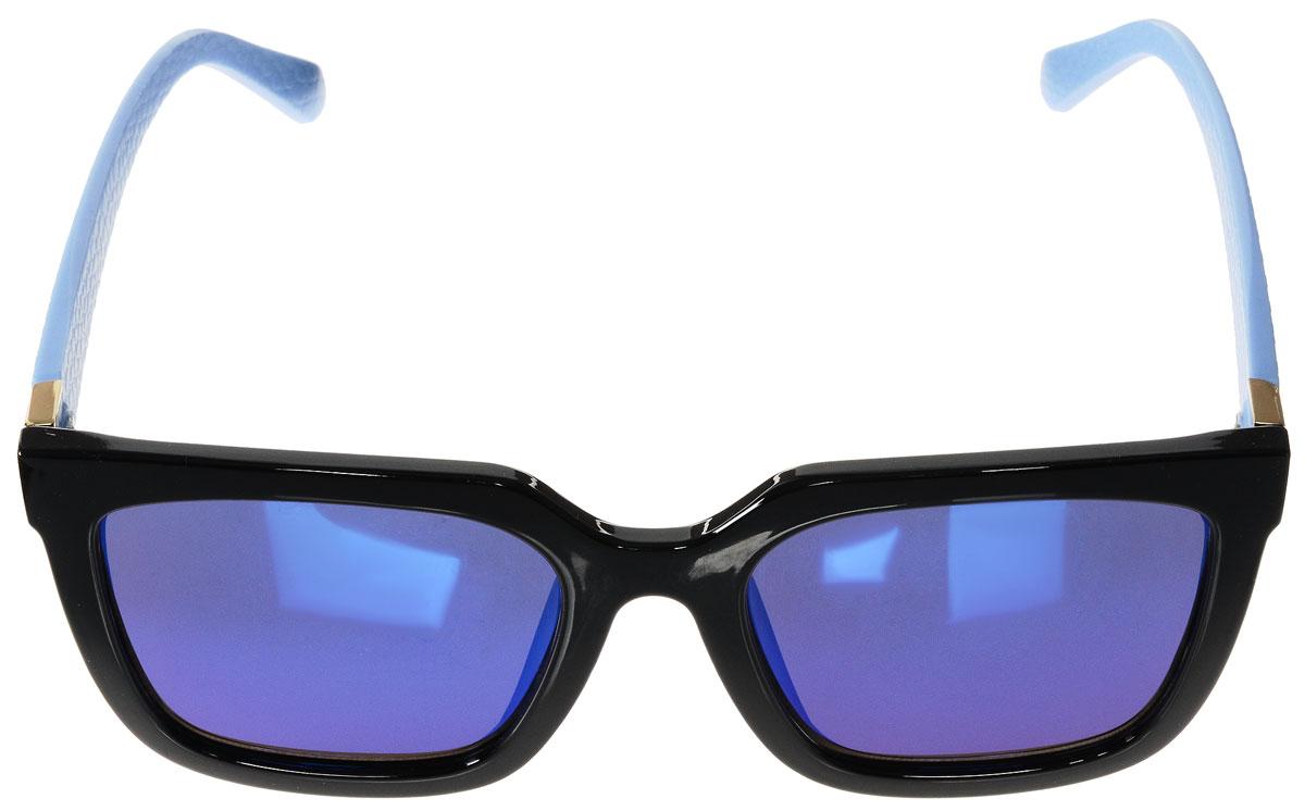 Очки солнцезащитные женские Vitacci, цвет: черный, голубой. O195O195Стильные солнцезащитные очки Vitacci выполнены из высококачественного пластика с элементами из металла. Линзы данных очков обладают высокоэффективным поляризационным покрытием со степенью защиты от ультрафиолетового излучения UV400. Используемый пластик не искажает изображение, не подвержен нагреванию и вредному воздействию солнечных лучей. Пластиковая оправа очков легкая, прилегающей формы и поэтому обеспечивает максимальный комфорт. Дужки декорированы оригинальной фактурой. Такие очки защитят глаза от ультрафиолетовых лучей, подчеркнут вашу индивидуальность и сделают ваш образ завершенным.