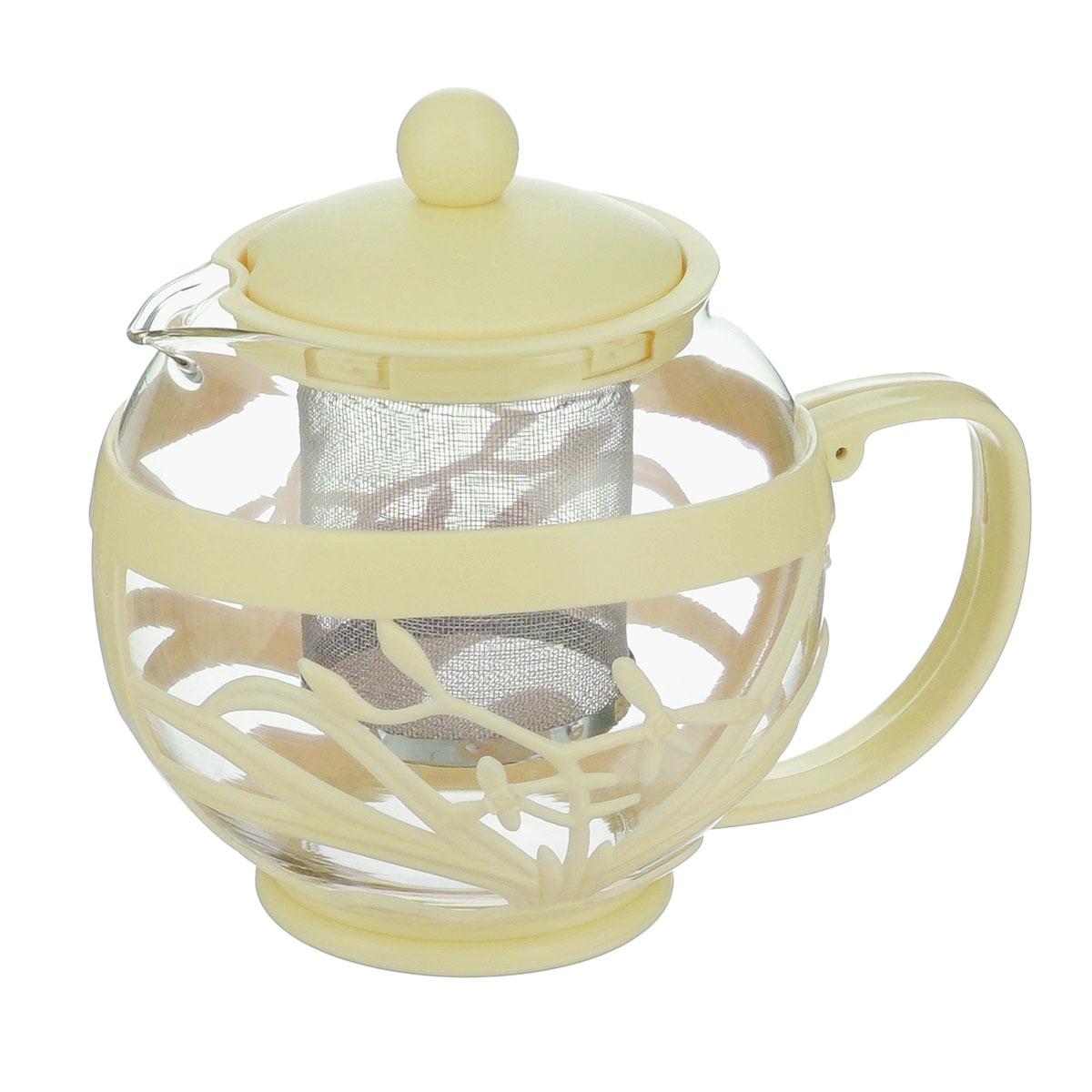 Чайник заварочный Menu Мелисса, с фильтром, цвет: прозрачный, бежевый, 750 млMLS-75Чайник Menu Мелисса изготовлен из прочного стекла и пластика. Он прекрасно подойдет для заваривания чая и травяных напитков. Классический стиль и оптимальный объем делают его удобным и оригинальным аксессуаром. Изделие имеет удлиненный металлический фильтр, который обеспечивает высокое качество фильтрации напитка и позволяет заварить чай даже при небольшом уровне воды. Ручка чайника не нагревается и обеспечивает безопасность использования. Нельзя мыть в посудомоечной машине. Диаметр чайника (по верхнему краю): 8 см. Высота чайника (без учета крышки): 11 см. Размер фильтра: 6 х 6 х 7,2 см.