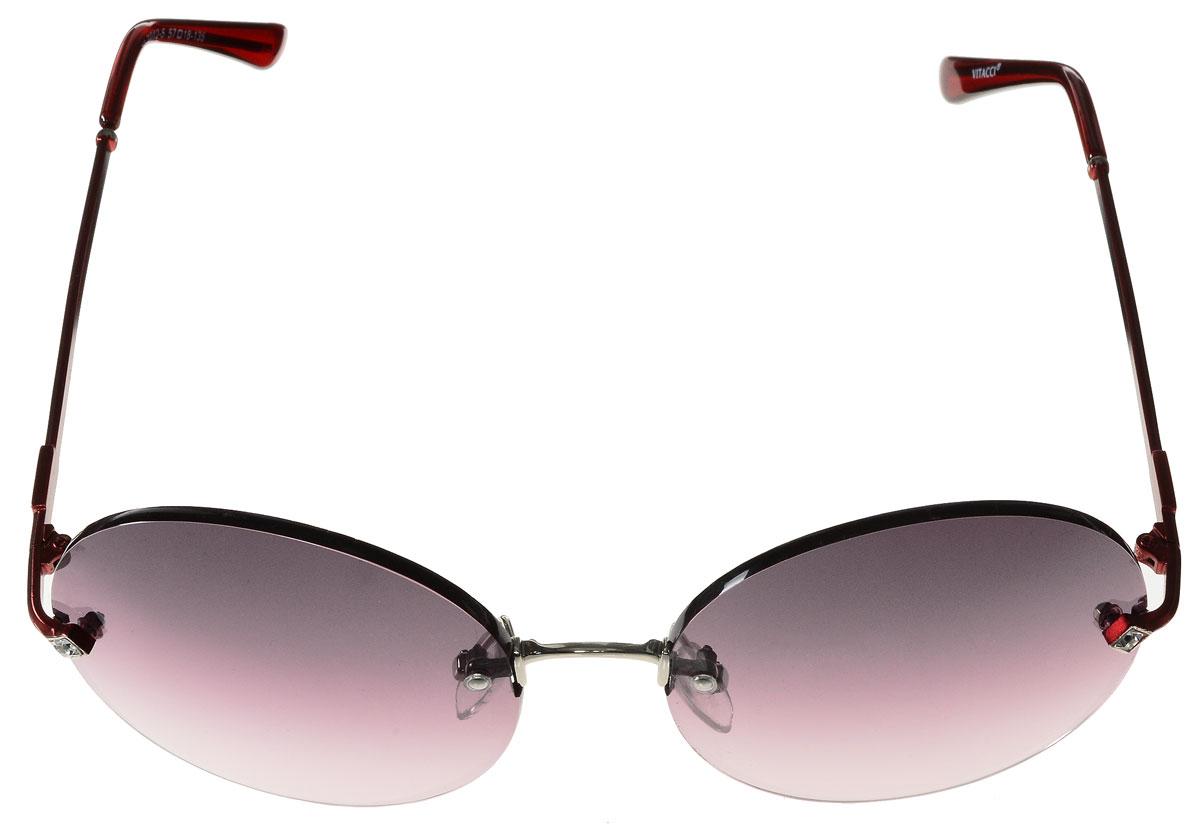 Очки солнцезащитные женские Vitacci, цвет: бордовый. H66H66Стильные солнцезащитные очки Vitacci выполнены из металла с элементами из высококачественного пластика. Линзы данных очков обладают высокоэффективным поляризационным покрытием со степенью защиты от ультрафиолетового излучения UV400. Используемый пластик не искажает изображение, не подвержен нагреванию и вредному воздействию солнечных лучей. Оправа очков легкая, прилегающей формы, дополнена носоупорами и поэтому обеспечивает максимальный комфорт. Дужки очков оформлены стразами. Такие очки защитят глаза от ультрафиолетовых лучей, подчеркнут вашу индивидуальность и сделают ваш образ завершенным.