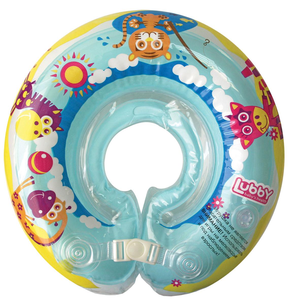 Lubby Круг на шею для купания14740Круг на шею для купания Lubby облегчит процесс купания для мамы и подарит море незабываемых эмоций малышу. Для обеспечения большей безопасности, круг состоит из двух камер, комплектуется пластиковой застежкой и липучкой. В одной из камер расположены 2 шарика, которые издают приятный звук и привлекают внимание ребенка. Внутренние швы на круге очень мягкие и эластичные - это позволит обезопасить от царапин нежную кожу малыша во время купания. Специальная выемка на внутренней стороне круга поможет надежно зафиксировать подбородок ребенка. Игрушка оснащена двумя ручками, за которые малышу будет удобно держаться. Игры на воде эффективно развивают физическое и эмоциональное состояние ребенка, а процесс купания подарит много радости и улыбок.