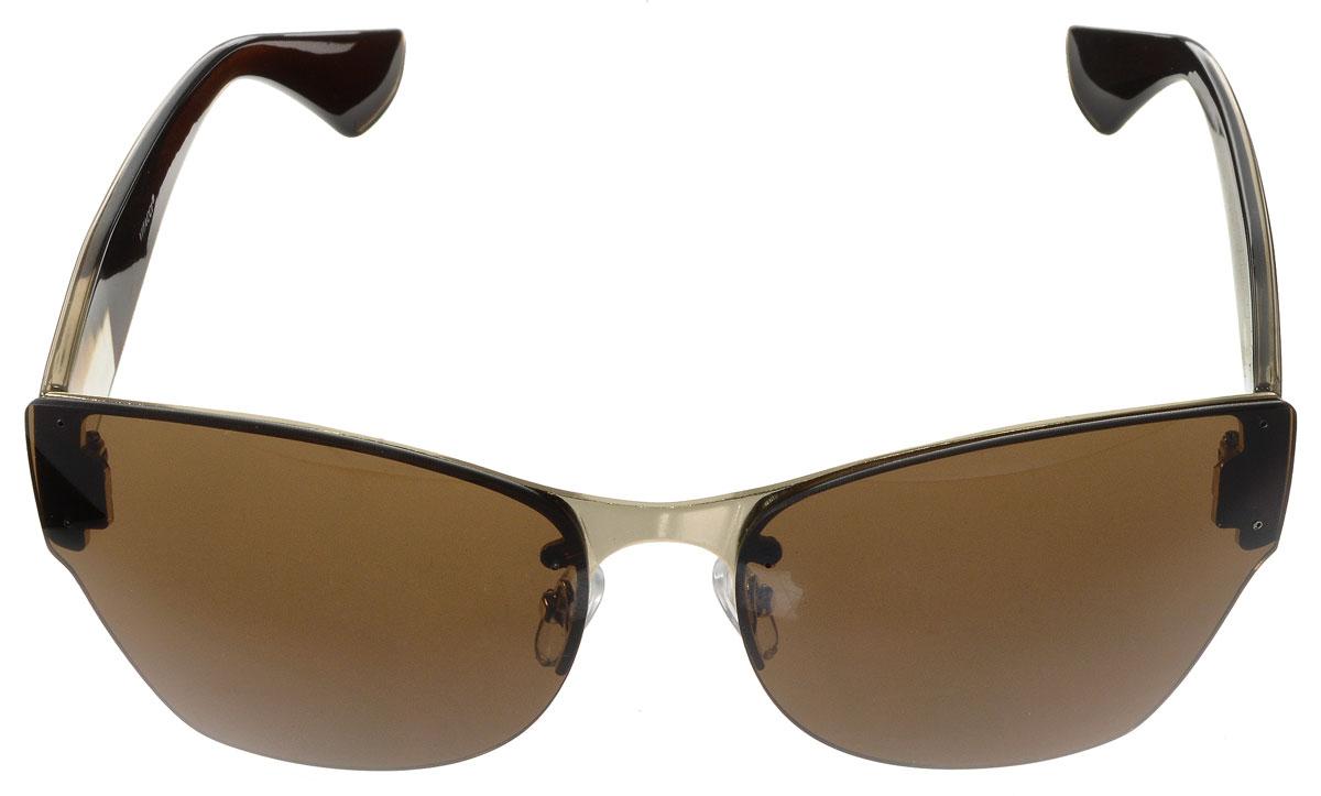 Очки солнцезащитные женские Vitacci, цвет: золотой, прозрачный, коричневый. H64H64Стильные солнцезащитные очки Vitacci выполнены из металла с элементами из высококачественного пластика. Линзы данных очков имеют степень затемнения С4, а также обладают высокоэффективным поляризационным покрытием со степенью защиты от ультрафиолетового излучения UV400. Используемый пластик не искажает изображение, не подвержен нагреванию и вредному воздействию солнечных лучей. Оправа очков легкая, прилегающей формы, дополнена носоупорами и поэтому обеспечивает максимальный комфорт. Такие очки защитят глаза от ультрафиолетовых лучей, подчеркнут вашу индивидуальность и сделают ваш образ завершенным.