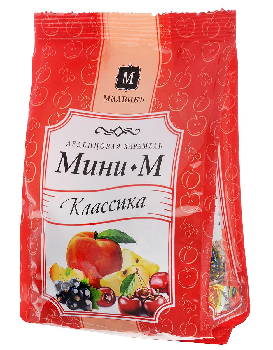 Малвикъ Мини-м Классика леденцовая карамель, 150 г14505Леденцовая карамель Малвикъ Мини-М - это вкусное и натуральное лакомство, наслаждаться которым можно практически бесконечно. Классическая коллекция, приготовленная по традиционным рецептам, состоит из карамели со вкусом сочной вишни, зеленого яблока, ароматного персика и черной смородины.