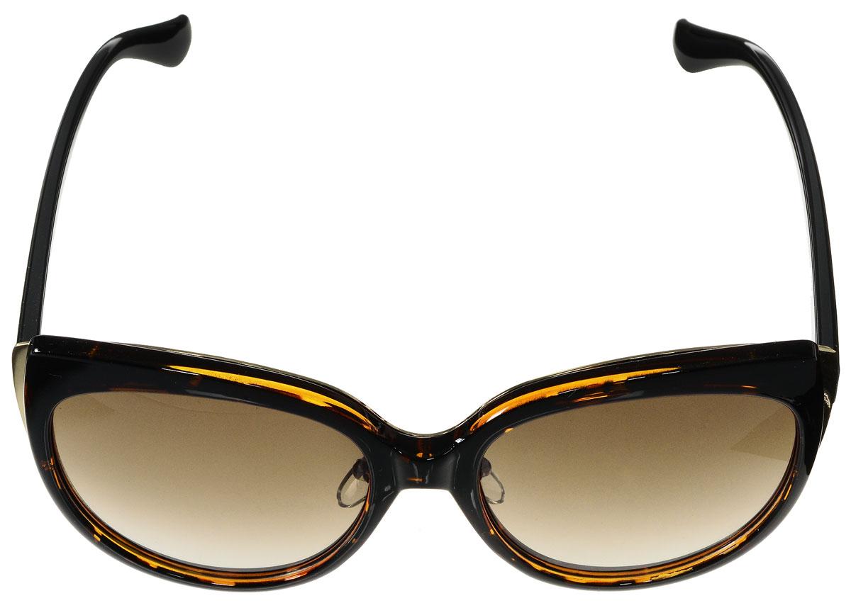 Очки солнцезащитные женские Vitacci, цвет: коричневый, золотой. O180O180Стильные солнцезащитные очки Vitacci выполнены из высококачественного пластика с элементами из металла. Используемый пластик не искажает изображение, не подвержен нагреванию и вредному воздействию солнечных лучей. Оправа очков легкая, прилегающей формы, дополнена носоупорами и поэтому обеспечивает максимальный комфорт. Такие очки защитят глаза от ультрафиолетовых лучей, подчеркнут вашу индивидуальность и сделают ваш образ завершенным.