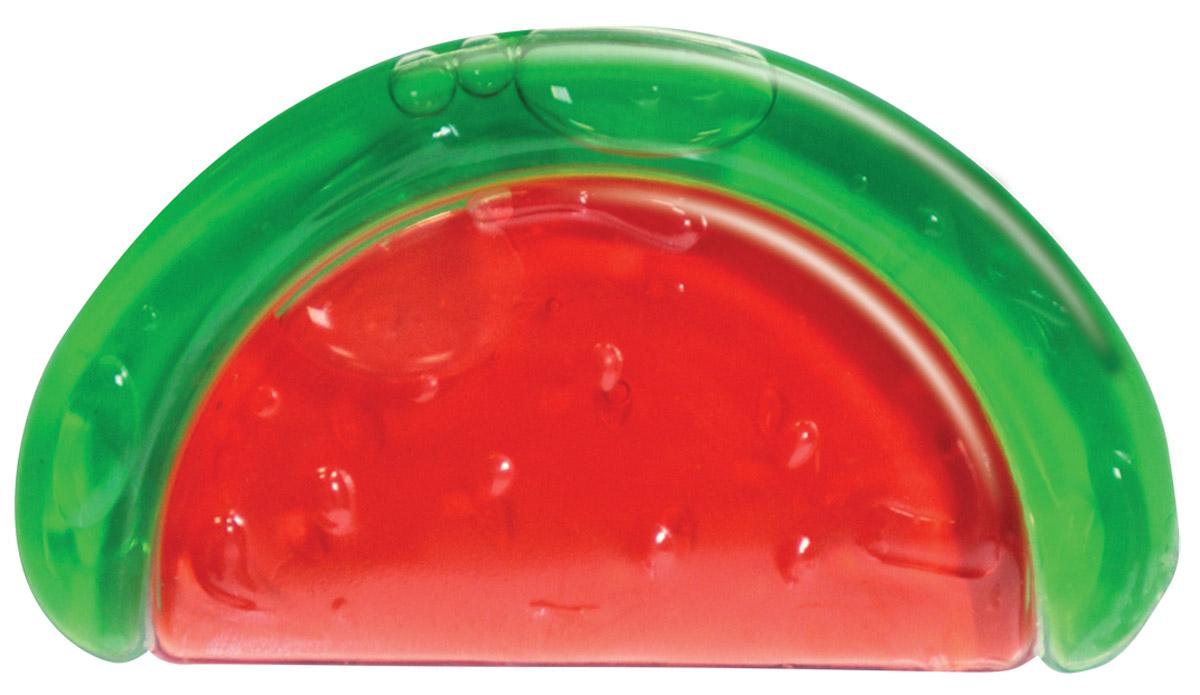 Lubby Прорезыватель Арбуз4552У малыша ухудшилось настроение и он начал плакать - просто начали расти зубки. Ребенок начинает кусать все, что попадает ему на пути: пальчики, губы, игрушки и другое. На помощь маме приходят прорезыватели для зубов. Прорезыватель Lubby Арбуз выполнен из силикона, наполнитель - очищенная вода, пищевой краситель. Он ослабит боль у малыша в период появления самых первых зубиков. Для охлаждения перед использованием следует поместить прорезыватель в холодильник (не в морозильную камеру) или в холодную воду. Покусывая прохладный прорезыватель, малыш чувствует облегчение и быстрее успокаивается. Привлекательный дизайн и эргономичная форма изделия позволяют ребенку удобно держать игрушку в руке. Не содержит бисфенол А.