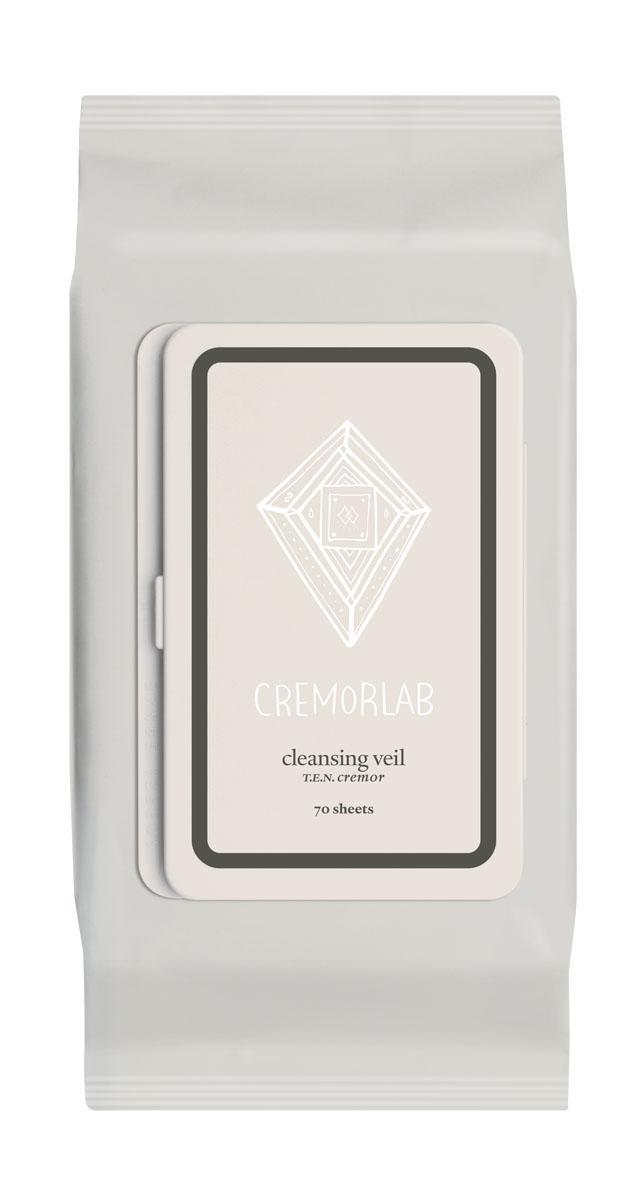 Cremorlab T.E.N. Cremor Салфетки для снятия макияжа Cleansing Veil, 70 шт61096Прекрасно и быстро удаляют следы любого макияжа, снимая раздражения и оставляя кожу увлажненной уже на этапе очищения. Входящие в состав водные и растительные ингредиенты, мгновенно впитываются, глубоко питают и прекрасно сохраняются кожей, восстанавливают ее структуру и водно-жировой баланс. Не содержит искусственных ароматизаторов, минеральных масел и парабенов. Подходит для всех типов и состояний кожи.