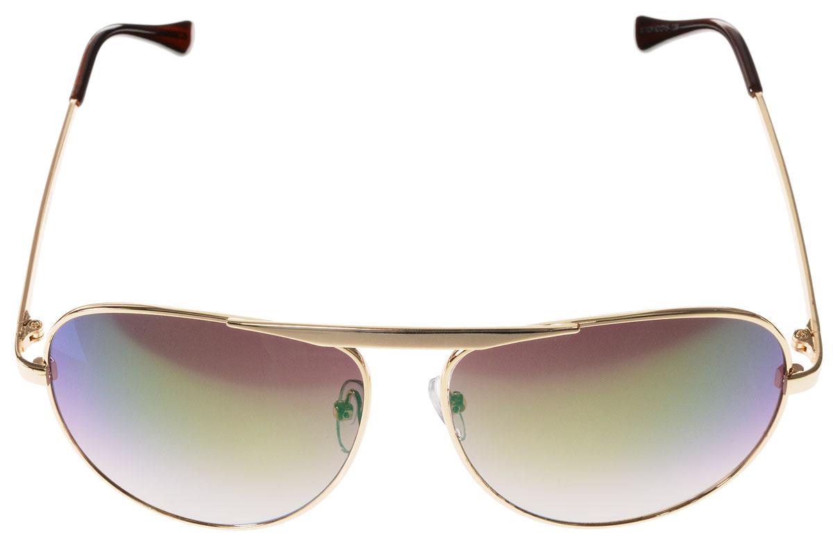 Очки солнцезащитные женские Vitacci, цвет: золотой, коричневый. H20H20Стильные солнцезащитные очки Vitacci выполнены из металла с элементами из высококачественного пластика. Линзы данных очков обладают высокоэффективным поляризационным покрытием со степенью защиты от ультрафиолетового излучения UV400. Используемый пластик не искажает изображение, не подвержен нагреванию и вредному воздействию солнечных лучей. Оправа очков легкая, прилегающей формы, дополнена носоупорами и поэтому обеспечивает максимальный комфорт. Такие очки защитят глаза от ультрафиолетовых лучей, подчеркнут вашу индивидуальность и сделают ваш образ завершенным.