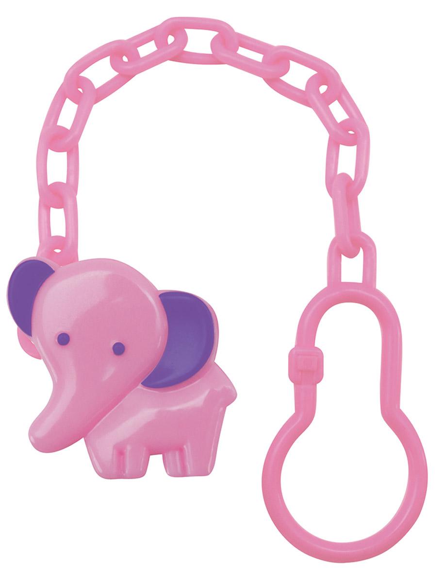 Lubby Клипса-держатель для пустышки Слоник цвет розовый