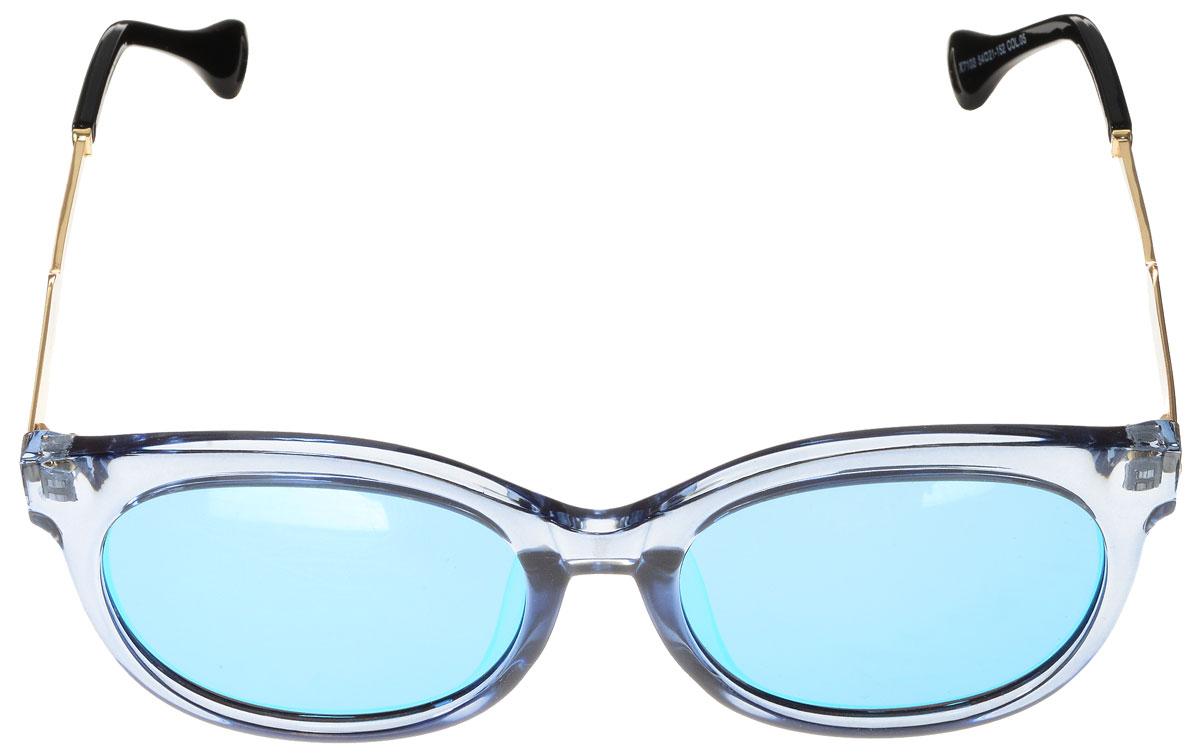 Очки солнцезащитные женские Vitacci, цвет: черный, золотой, голубой. O190O190Стильные солнцезащитные очки Vitacci выполнены из высококачественного пластика с элементами из металла. Линзы данных очков обладают высокоэффективным поляризационным покрытием со степенью защиты от ультрафиолетового излучения UV400. Используемый пластик не искажает изображение, не подвержен нагреванию и вредному воздействию солнечных лучей. Оправа очков легкая, прилегающей формы и поэтому обеспечивает максимальный комфорт. Такие очки защитят глаза от ультрафиолетовых лучей, подчеркнут вашу индивидуальность и сделают ваш образ завершенным.