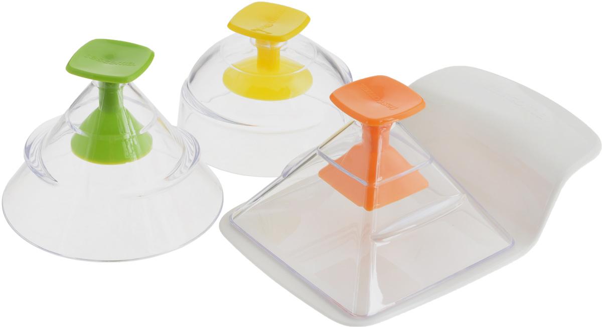 Набор для придания продуктам 3D-формы Tescoma Presto FoodStyle, 3 предмета422230Набор Tescoma Presto FoodStyle состоит из трех форм и съемного дна в виде лопатки. С помощью таких формочек можно придать самую разную форму закускам, гарнирам, салатам и другим блюдам. Достаточно наполнить формы, накрыть съемным дном и перевернуть, затем переложить блюдо на тарелку. Изделия изготовлены из высококачественного пластика. Прилагается инструкция с рецептами. Можно мыть в посудомоечной машине. Размер форм: 8 х 8 х 7 см; 9 х 9 х 7,5 см; 8,5 х 8,5 х 8 см. Размер съемного дна: 14,5 х 9,5 х 3 см.