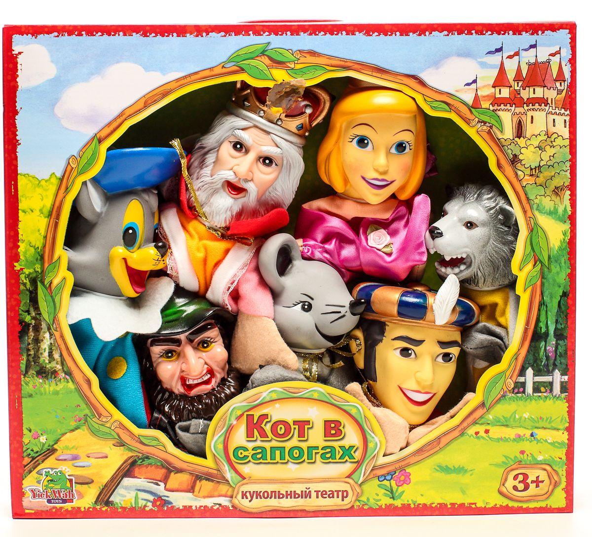 Yick Wah Кукольный театр Кот в сапогах7142/13SКукольный театр создан на основе всем известной сказки.Набор состоит из 7-и кукол-марионеток большого размера,одевающихся на кисть руки.Куклы обладают высокой прочностью,безопасностью.Доставляют малышам масс приятных и радостных эмоций