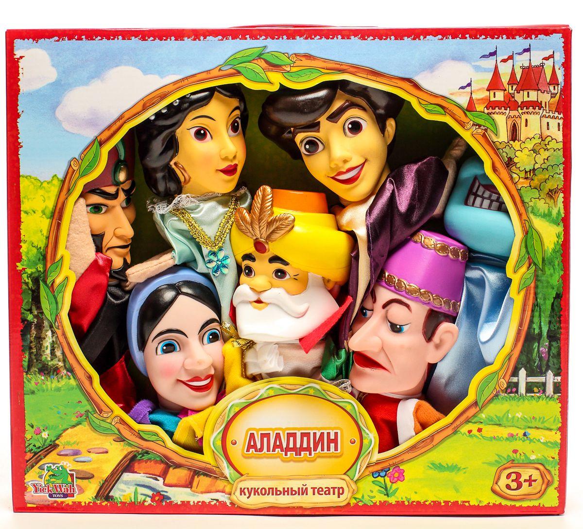 Yick Wah Кукольный театр Алладин7128S/7Кукольный театр создан на основе всем известной сказки.Набор состоит из 7-и кукол-марионеток большого размера,одевающихся на кисть руки.Куклы обладают высокой прочностью,безопасностью.Доставляют малышам масс приятных и радостных эмоций