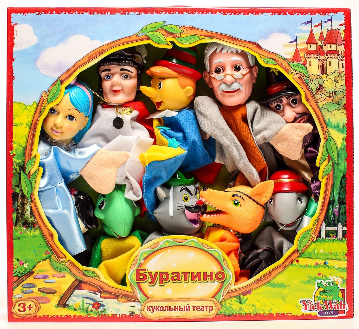 Yick Wah Кукольный театр Буратино7142/5SКукольный театр создан на основе всем известной сказки.Набор состоит из 9-и кукол-марионеток большого размера,одевающихся на кисть руки.Куклы обладают высокой прочностью,безопасностью.Доставляют малышам масс приятных и радостных эмоций