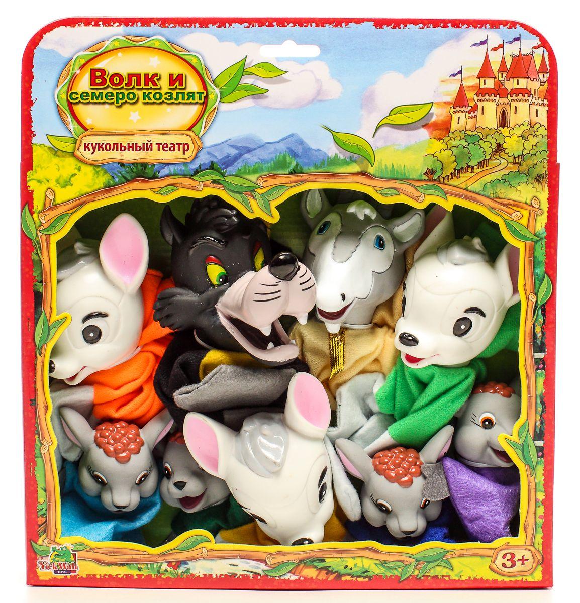 Yick Wah Кукольный театр Волк и семеро козлят7162/3SКукольный театр создан на основе всем известной сказки.Набор состоит из 7-и кукол-марионеток большого размера,одевающихся на кисть руки.Куклы обладают высокой прочностью,безопасностью.Доставляют малышам масс приятных и радостных эмоций