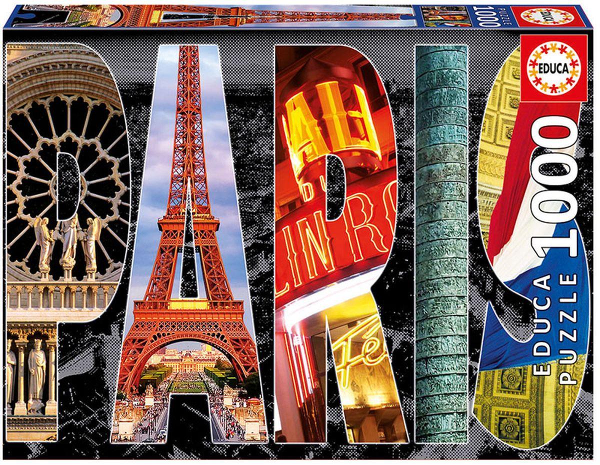 Educa Пазл Париж16757Пазл 1000 деталей Париж, коллаж. Размер собранного пазла 68х48см